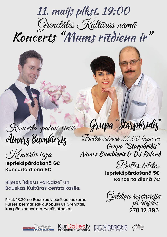"""Koncerts """"Mums rītdiena ir"""" – Starpbrīdis & Ainars Bumbieris"""