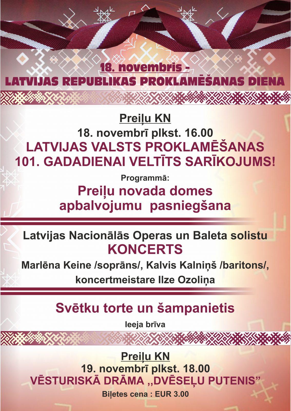 18. novembrī Preiļu KN Latvijas valsts proklamēšanas 101. gadadienai veltīts sarīkojums