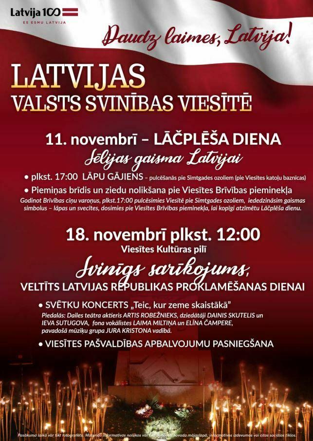 Svinīgs sarīkojums veltīts Latvijas Republikas proklamēšanas dienai Viesītē